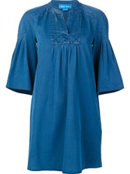 Mih Jeans Ruffle Sleeve Shift Dress Blue