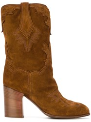 Casadei Western Style Boots Nude And Neutrals