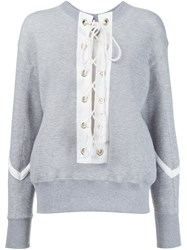 Sacai Lace Up Sweatshirt Grey