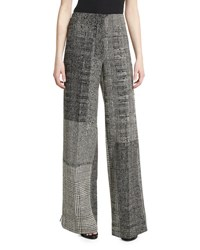 Jason Wu Patchwork Houndstooth Wide Leg Pants Black Chalk