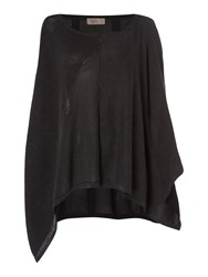 Label Lab Sahara Charcoal Patchwork Poncho Washed Black