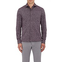 Isaia Men's Melange Cotton Shirt Dark Purple