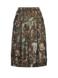 Muveil Rainforest And Animal Print Midi Skirt Khaki