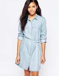 B.Young Belted Shirt Dress Blue
