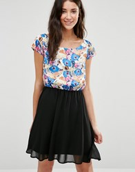 Pussycat London Skater Dress With Floral Print Top Multi