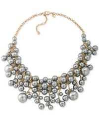 Carolee Gold Tone Gray Imitation Pearl Cluster Collar Necklace