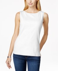 Karen Scott Sleeveless Boat Neck Tank Top Only At Macy's Bright White
