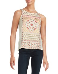 Lucky Brand Embroidered Tank Top Bone White
