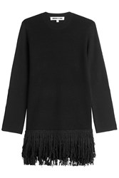 Mcq By Alexander Mcqueen Wool Dress With Fringe Black