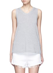 Alexander Wang Enzyme Wash French Terry Racerback Tank Top Grey