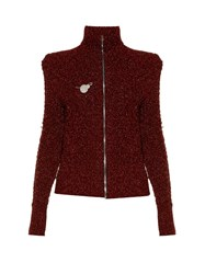 Isabel Marant Daley High Neck Zip Through Sweater Dark Red
