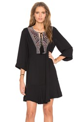 Twelfth St. By Cynthia Vincent Bell Sleeve Embroidered Dress Black
