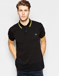 Fred Perry Polo With Polka Dot In Slim Fit Black