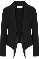 Derek Lam 10 Crosby By Fringe Trimmed Woven Blazer Black