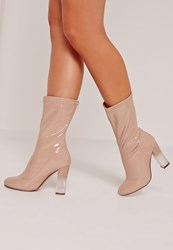 Missguided Patent Transparent Heel Ankle Boots Nude