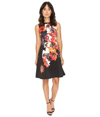 Maggy London Hot House Flower Print Faille Fit Flare Dress Soft White Red Women's Dress Multi