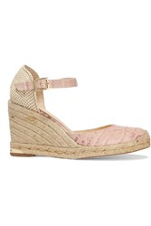 Paloma Barcelo Coco Canvas Trimmed Croc Effect Leather Wedge Sandals Pink