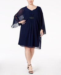 Connected Plus Size Illusion Sleeve Chiffon Shift Dress Navy