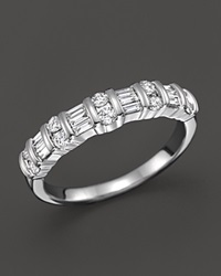 Bloomingdale's Diamond And Baguette Band Ring In 14K White Gold .50 Ct. T.W.