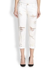 One Teaspoon Awesome Baggies Distressed Cropped Boyfriend Jeans Dirty White