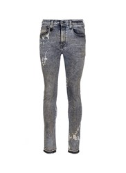 R 13 'Skate' Bleach Stain Frayed Jeans Grey
