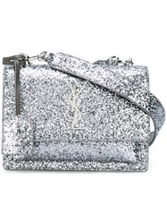 Saint Laurent Small 'Sunset Monogram' Satchel Metallic