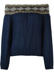 Tory Burch Embroidered Off Shoulder Blouse Blue