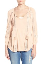 Women's Lucky Brand Lace Trim Peasant Blouse Pale Dogwood