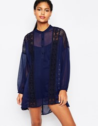 Moon River Lace Trimmed Smock Dress With Balloon Sleeves Navy
