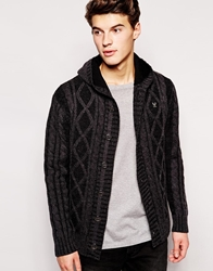 Ringspun Cardigan In Cable Knit Black