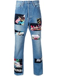 Doublet Patched Tapered Jeans Blue