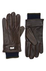 Ted Baker Men's London Calypso Leather Tech Gloves Chocolate