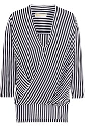 Michael Michael Kors Boden Wrap Effect Striped Chiffon Blouse Blue