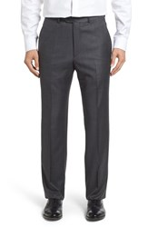 Santorelli Men's Flat Front Windowpane Wool Trousers