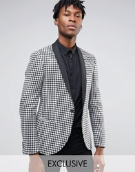 Noak Slim Blazer In Dogtooth With Contrast Shawl Lapel Black