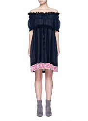 Chloe Embroidered Ruffle Crinkled Cotton Silk Off Shoulder Dress Blue