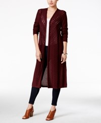 Styleandco. Style Co. Pointelle Knit Duster Cardigan Only At Macy's Dried Plum