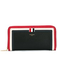Thom Browne Striped Zip Around Wallet Blue