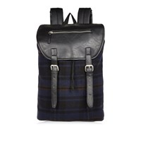 River Island Mens Navy Check Buckle Backpack