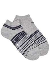 Emporio Armani Grey Striped Trainer Socks