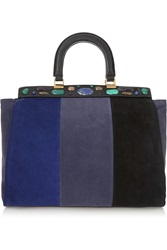 Tory Burch Attersee Embellished Color Block Suede Tote
