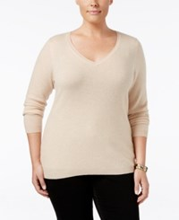 Charter Club Plus Size Cashmere V Neck Sweater Only At Macy's Blush Heather