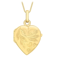 Ibb 9Ct Gold Flower Heart Locket Pendant Necklace Gold