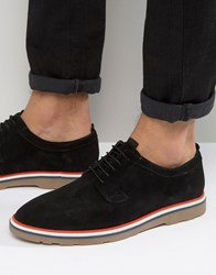 Asos Lace Up Shoes In Black Suede Black