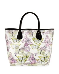 Neiman Marcus Butterfly Print Clear Tote Bag