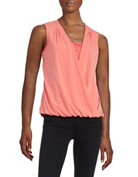 Calvin Klein Lace Accented Faux Wrap Top Rose
