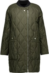Belstaff Quilted Silk Satin Coat Army Green