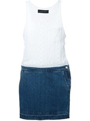 Christian Pellizzari Denim Skirt Dress White