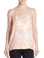 Halston Sequined Chiffon Tank Top