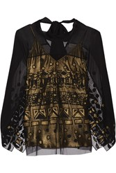 Temperley London Sura Embroidered Tulle And Silk Blend Chiffon Top Black